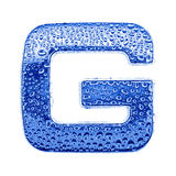 Metal letter & water drops - letter G Stock Photo