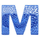 Metal letter & water drops - letter M Royalty Free Stock Image