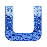 Metal letter & water drops - letter U Stock Image
