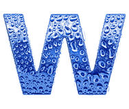 Metal letter & water drops - letter W Royalty Free Stock Photos