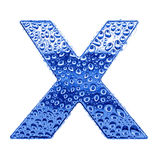 Metal letter & water drops - letter X Royalty Free Stock Photos