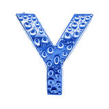 Metal letter & water drops - letter Y Royalty Free Stock Photo