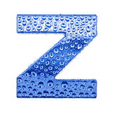 Metal letter & water drops - letter Z Royalty Free Stock Images