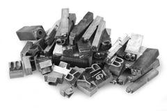 Metal letterpress. Old metal letterpress printing blocksth stock photos