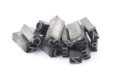 Metal letterpress printing blocks Stock Photography