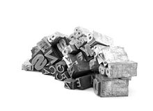 Metal letterpress printing blocks Royalty Free Stock Photos