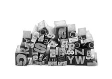 Metal letterpress printing blocks Stock Photos