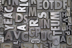 Metal Letterpress Type. A background of vintage metal letterpress type royalty free stock image