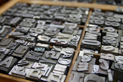 Metal Letterpress Type in Printers Case Stock Image