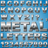 Metal Letters. An Alphabet Sit of Shiny Metal Letters and Numbers Royalty Free Stock Photography