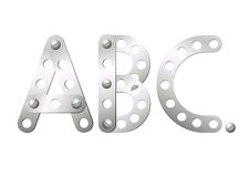 Metal letters A, B, C Stock Photos