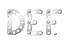 Metal letters D, E, F Stock Photography