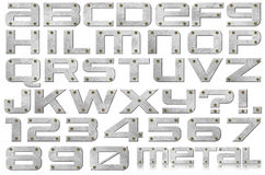 Metal Letters and Numbers. Metal alphabet and numbers with bolts on white background Stock Photo