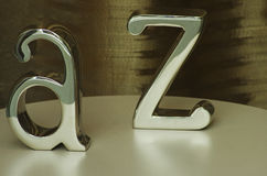 Metal Letters. Two metal Letters A and Z on a shop window stock images