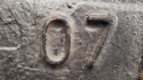 Metal liczba 07 Tekstura ośniedziały metal w postaci postaci 07 Obraz Stock