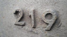 Metal liczba 219 Tekstura ośniedziały metal w postaci postaci 219 Fotografia Stock