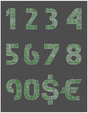 Metal liczby i waluta znaki Obraz Royalty Free