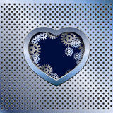 Metal light background with heart Royalty Free Stock Photo