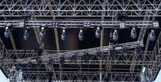 Metal lighting structures on the concert stage royalty free stock image