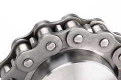 Metal Link Chain And Cogwheel Stock Images