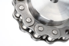 Metal Link Chain And Cogwheel Stock Photography