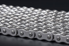 Metal link chains. Close up of metal link chains Royalty Free Stock Photography