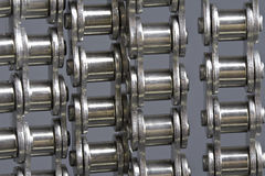 Metal link chains. Close up of metal link chains Stock Photo