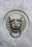 Metal lion head door handle. Antique door knocker. Stock Photos