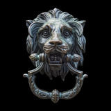 Metal Lion Head DoorKnocker Isolated Black Royalty Free Stock Image