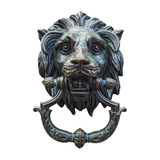 Metal Lion Head DoorKnocker Isolated White Stock Photography
