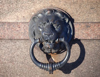 Metal Lion head with ring on the wall Royalty Free Stock Photo