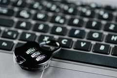 Metal lock on computer keyboard. Computer security concept royalty free stock photo