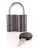 Metal lock and key isolated Royalty Free Stock Photos
