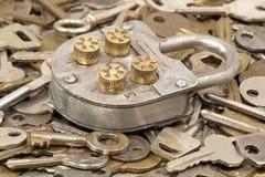 Metal lock and keys. Stock Photo