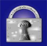 Metal lock for the New Year 2011 Royalty Free Stock Photography
