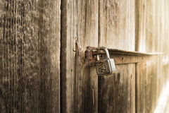 Metal lock on old barn Royalty Free Stock Photo