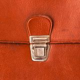 Metal lock old red leather briefcase Royalty Free Stock Photos
