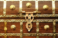 Metal Lock on wooden chest royalty free stock photos