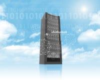 Metal locker on cloud in sky with sun Royalty Free Stock Photos