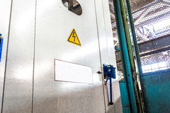 Metal locker with the electrical system at factory Stock Photos
