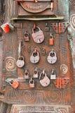 Metal Locks on iron background Stock Image