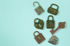 Metal locks and keys. Symbols of love Stock Photo