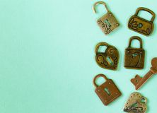 Metal locks and keys. Symbols of love Royalty Free Stock Images