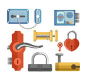 Metal locks for permises protection isolated illustrations set Stock Image