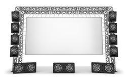 Metal los bragueros con una pantalla y sistemas acústicos El equipo de una etapa, un cine Imagen de archivo libre de regalías