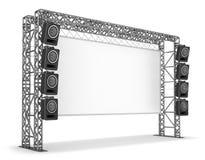 Metal los bragueros con una pantalla y sistemas acústicos El equipo de una etapa, un cine Imagen de archivo
