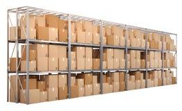 Metal los estantes con las cajas aisladas en el fondo blanco Imágenes de archivo libres de regalías