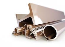 Metal los tubos, ángulos, canales, cuadrados Imagen de archivo libre de regalías