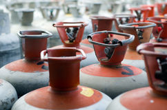 Metal LPG gas bottles in storage Royalty Free Stock Photography