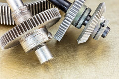 Metal machine gears and cogwheels closeup for industrial concept Royalty Free Stock Photography